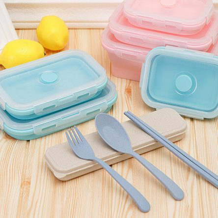 3 pcs Silicone foldable Food Storage box, Lunch Box, Household Picnic bento box with 1 set tableware