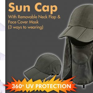 Sun cap with Removable Neck Flap and Face Cover Mask